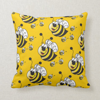 Cute Cartoon Yellow Honey Bees Throw Pillow