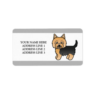 Cute Cartoon Yorkie Dog With Custom Text Label