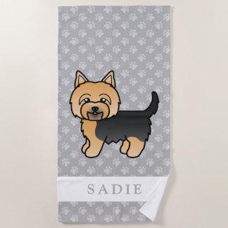 Cute Cartoon Yorkshire Terrier & Custom Name Gray Beach Towel