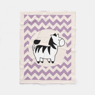Cute Cartoon Zebra & Chevrons Fleece Blanket