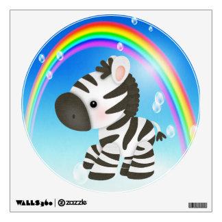 Cute Cartoon Zebra & Rainbow Wall Decal