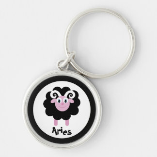 Cute Cartoon Zodiac Aries Ram Silver-Colored Round Keychain
