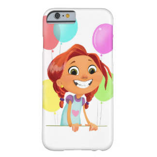 Cute cartoony girl with balloons smiling barely there iPhone 6 case