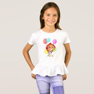 Cute cartoony girl with balloons smiling T-Shirt