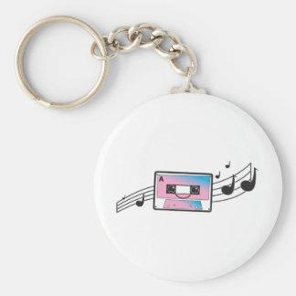 Cute cassette tape basic round button keychain
