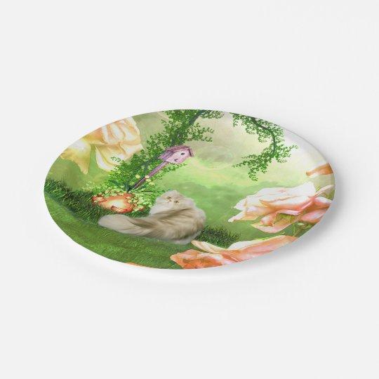 Cute cat 7 inch paper plate