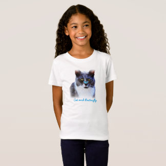 Cute Cat and Butterfly Girls White T-Shrit T-Shirt