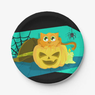 Cute Cat and Halloween Pumpkin 7 Inch Paper Plate