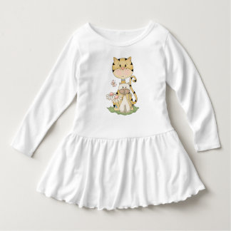Cute Cat and Kitten Country Prims Beige Daisy Pink Dress