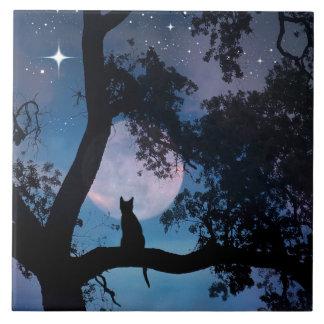 Cute Cat and Moon Art Tile