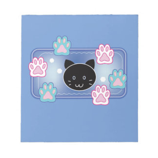 Cute cat and paw pads (blue)