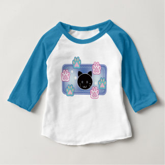 Cute cat and paw pads (blue) baby T-Shirt