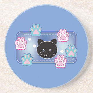 Cute cat and paw pads (blue) coaster