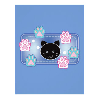 Cute cat and paw pads (blue) letterhead design