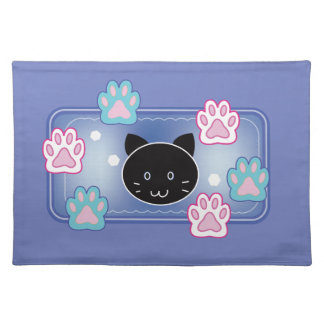 Cute cat and paw pads (blue) placemat