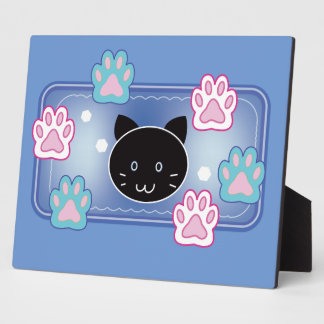 Cute cat and paw pads (blue) plaque