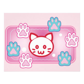 Cute cat and paw pads (pink) customized letterhead
