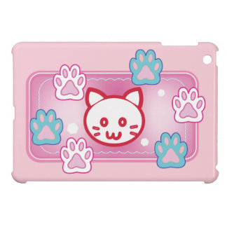 Cute cat and paw pads (pink) iPad mini cover