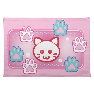 Cute cat and paw pads (pink) placemat