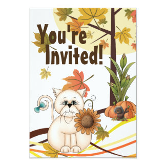 Cute Cat and Sunflower Autumn Birthday Party Card