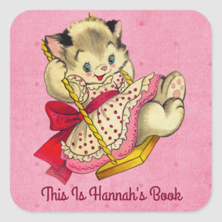 Cute Cat And Swing Vintage Style Bookplate Square Sticker