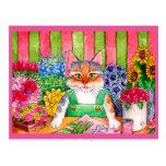 Cute cat art flower shop postcard