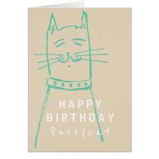 Cute cat birthday card cappuccino