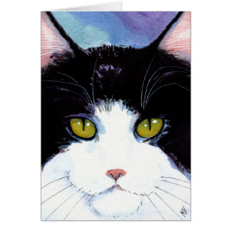Cute Cat black white Birthday or any occasion card