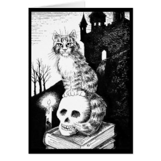 Cute Cat black white Halloween, any occasion card