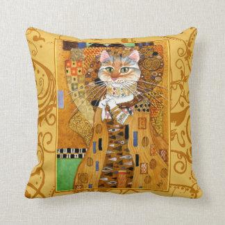 Cute cat cartoon Klimt gold pillow
