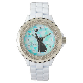 Cute Cat Chasing a butterfly Monogram Wrist Watches