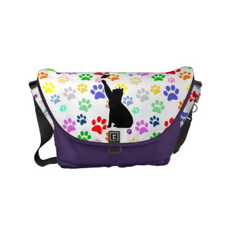 Cute Cat Chasing a butterfly On a Cute Paw Pattern Messenger Bags