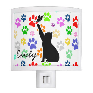 Cute Cat Chasing A butterfly Paws Pattern Monogram Nite Light