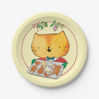 Cute Cat Christmas Paper Plates