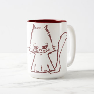 Cute cat coffee mug maroon