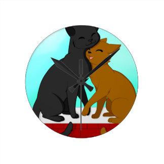 Cute Cat Couple Clocks