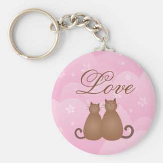 Cute Cat Couple Pink Cherry Blossom Spring Floral Keychain