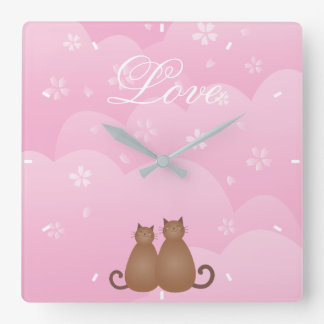 Cute Cat Couple Pink Cherry Blossom Spring Floral Square Wall Clock