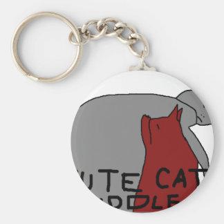 Cute Cat Cuddle Basic Round Button Keychain