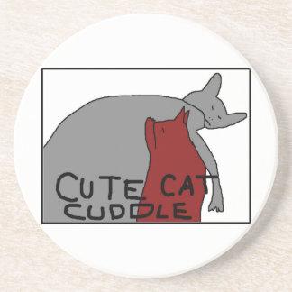 Cute Cat Cuddle Beverage Coaster