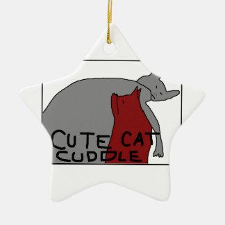 Cute Cat Cuddle Ceramic Star Ornament