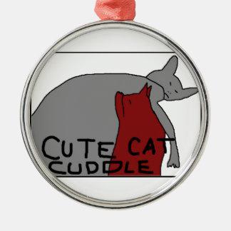 Cute Cat Cuddle Metal Ornament