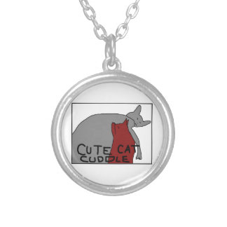 Cute Cat Cuddle Silver Plated Necklace