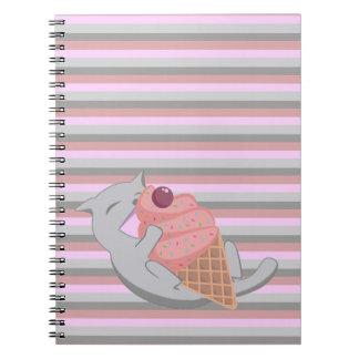 Cute Cat Eating Ice Cream Striped Notebook
