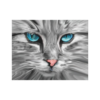 Cute Cat Eyes Face Water Color Oil Painting Art Canvas Print