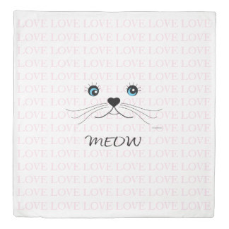 Cute Cat Face. MEOW Love Pink Duvet Cover