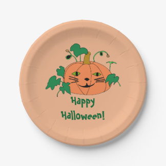 Cute Cat Face Pumpkin Happy Halloween Plates