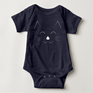 Cute Cat Face - white Baby Bodysuit