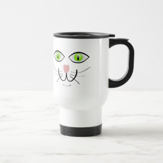 Cute Cat Face with Green Eyes Travel Mug
