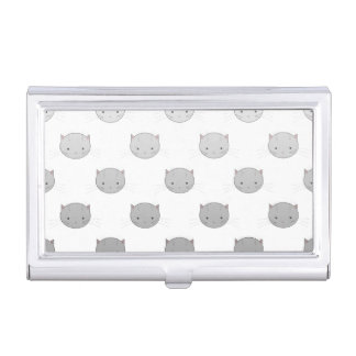 Cute Cat Faces Pattern Grey Business Card Holder